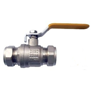 22mm Copper TO Copper Yellow Lever Ball Valve Gas